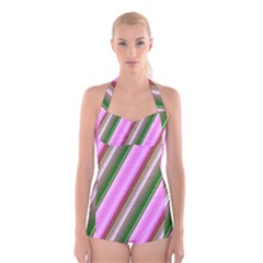 Pink And Green Abstract Pattern Background Boyleg Halter Swimsuit