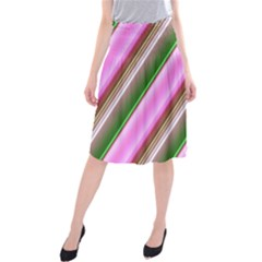 Pink And Green Abstract Pattern Background Midi Beach Skirt