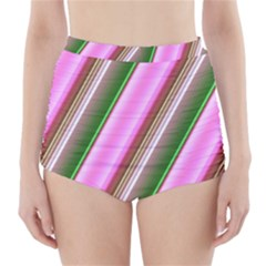 Pink And Green Abstract Pattern Background High-Waisted Bikini Bottoms