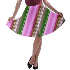 Pink And Green Abstract Pattern Background A Line Skater Skirt
