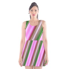 Pink And Green Abstract Pattern Background Scoop Neck Skater Dress