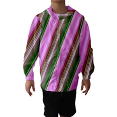 Pink And Green Abstract Pattern Background Hooded Wind Breaker (Kids)