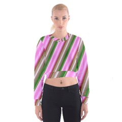 Pink And Green Abstract Pattern Background Women s Cropped Sweatshirt