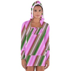 Pink And Green Abstract Pattern Background Women s Long Sleeve Hooded T-shirt
