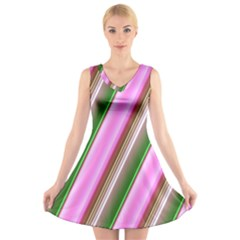 Pink And Green Abstract Pattern Background V Neck Sleeveless Skater Dress