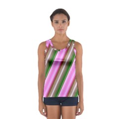 Pink And Green Abstract Pattern Background Women s Sport Tank Top