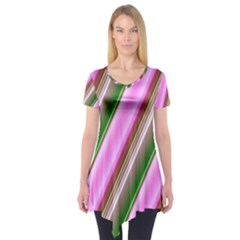 Pink And Green Abstract Pattern Background Short Sleeve Tunic