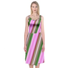 Pink And Green Abstract Pattern Background Midi Sleeveless Dress