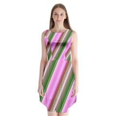 Pink And Green Abstract Pattern Background Sleeveless Chiffon Dress