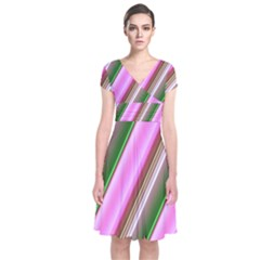 Pink And Green Abstract Pattern Background Short Sleeve Front Wrap Dress