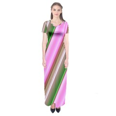 Pink And Green Abstract Pattern Background Short Sleeve Maxi Dress