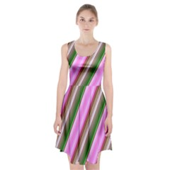 Pink And Green Abstract Pattern Background Racerback Midi Dress