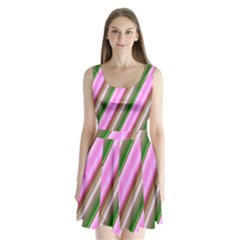 Pink And Green Abstract Pattern Background Split Back Mini Dress