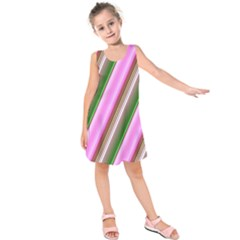 Pink And Green Abstract Pattern Background Kids  Sleeveless Dress