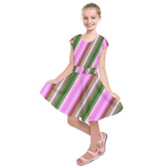Pink And Green Abstract Pattern Background Kids  Short Sleeve Dress