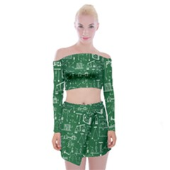 Scientific Formulas Board Green Off Shoulder Top With Skirt Set