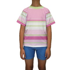 Turquoise Blue Damask Line Green Pink Red White Kids  Short Sleeve Swimwear
