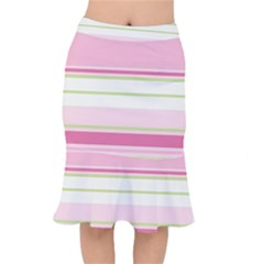 Turquoise Blue Damask Line Green Pink Red White Mermaid Skirt