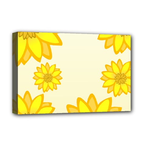 Sunflowers Flower Floral Yellow Deluxe Canvas 18  x 12