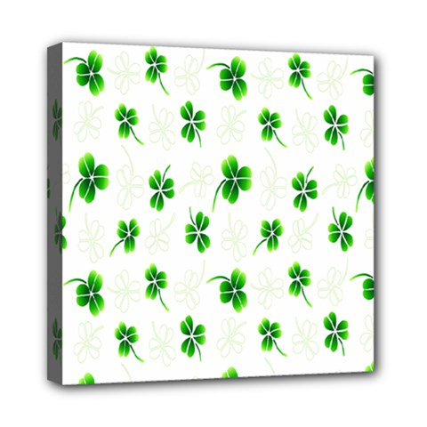 Leaf Green White Mini Canvas 8  x 8