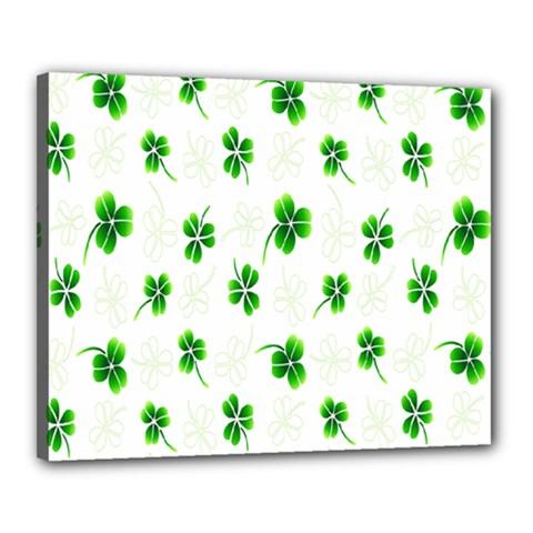 Leaf Green White Canvas 20  x 16