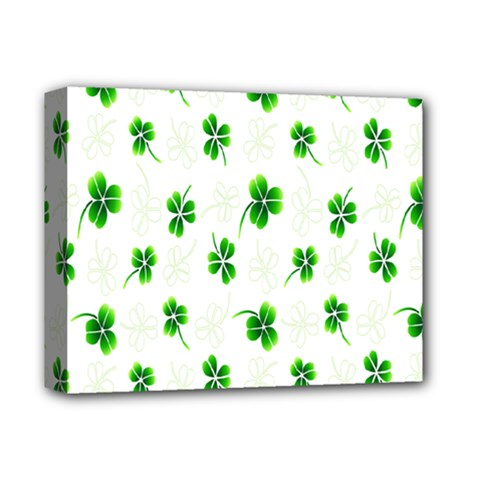 Leaf Green White Deluxe Canvas 14  x 11