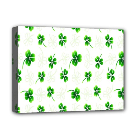 Leaf Green White Deluxe Canvas 16  x 12