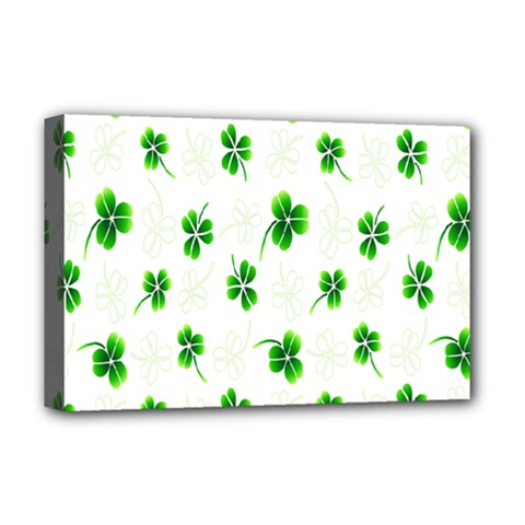 Leaf Green White Deluxe Canvas 18  x 12