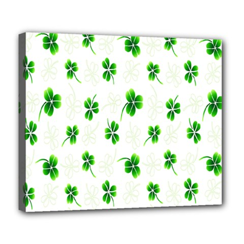 Leaf Green White Deluxe Canvas 24  x 20