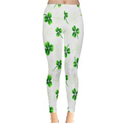 Leaf Green White Leggings