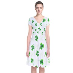Leaf Green White Short Sleeve Front Wrap Dress