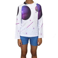 Space Transparent Purple Moon Star Kids  Long Sleeve Swimwear