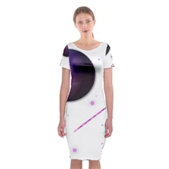 Space Transparent Purple Moon Star Classic Short Sleeve Midi Dress