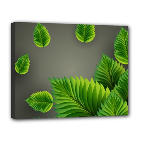 Leaf Green Grey Canvas 14  x 11