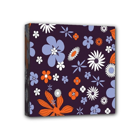 Bright Colorful Busy Large Retro Floral Flowers Pattern Wallpaper Background Mini Canvas 4  X 4