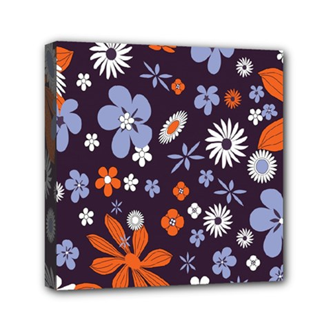 Bright Colorful Busy Large Retro Floral Flowers Pattern Wallpaper Background Mini Canvas 6  x 6