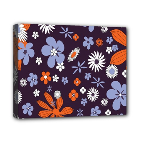 Bright Colorful Busy Large Retro Floral Flowers Pattern Wallpaper Background Canvas 10  x 8