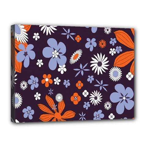 Bright Colorful Busy Large Retro Floral Flowers Pattern Wallpaper Background Canvas 16  X 12