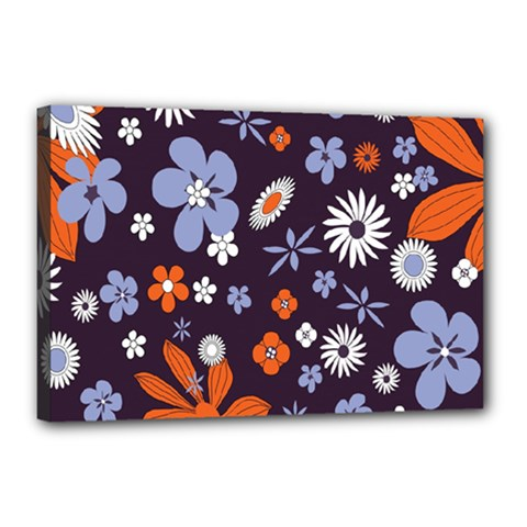 Bright Colorful Busy Large Retro Floral Flowers Pattern Wallpaper Background Canvas 18  X 12