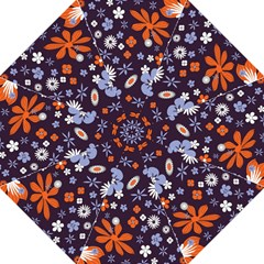 Bright Colorful Busy Large Retro Floral Flowers Pattern Wallpaper Background Straight Umbrellas