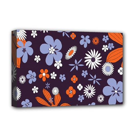 Bright Colorful Busy Large Retro Floral Flowers Pattern Wallpaper Background Deluxe Canvas 18  X 12