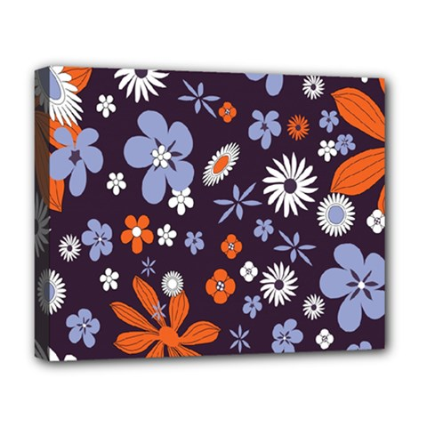Bright Colorful Busy Large Retro Floral Flowers Pattern Wallpaper Background Deluxe Canvas 20  x 16