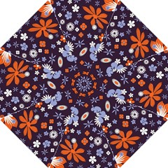 Bright Colorful Busy Large Retro Floral Flowers Pattern Wallpaper Background Hook Handle Umbrellas (small)