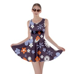 Bright Colorful Busy Large Retro Floral Flowers Pattern Wallpaper Background Skater Dress