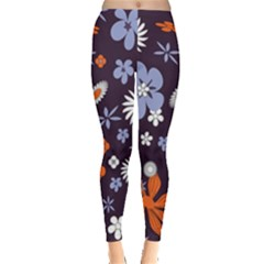 Bright Colorful Busy Large Retro Floral Flowers Pattern Wallpaper Background Leggings