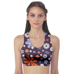 Bright Colorful Busy Large Retro Floral Flowers Pattern Wallpaper Background Sports Bra