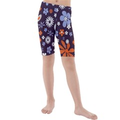 Bright Colorful Busy Large Retro Floral Flowers Pattern Wallpaper Background Kids  Mid Length Swim Shorts