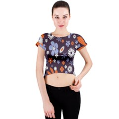 Bright Colorful Busy Large Retro Floral Flowers Pattern Wallpaper Background Crew Neck Crop Top