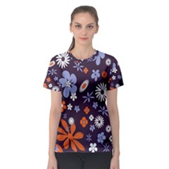 Bright Colorful Busy Large Retro Floral Flowers Pattern Wallpaper Background Women s Sport Mesh Tee