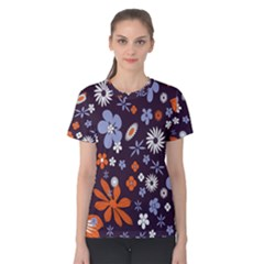 Bright Colorful Busy Large Retro Floral Flowers Pattern Wallpaper Background Women s Cotton Tee